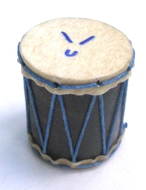 Marcos China logo on a tiny hand-made shaker. Goat skin heads with blue strings.