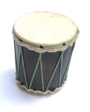 Tiny hand-made pagode shaker that looks like a drum. Goat skin head, green strings, and dark wooden shell.