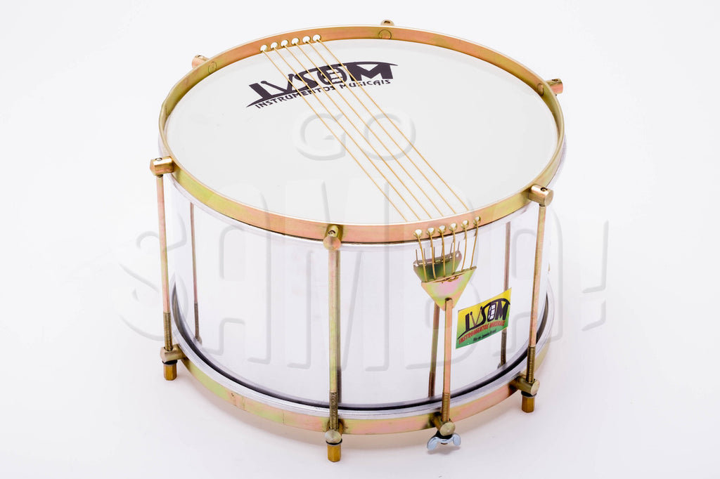 Six string aluminum shell caixa made by IVSOM. Shiny aluminum shell, brassy hardware on a white background.