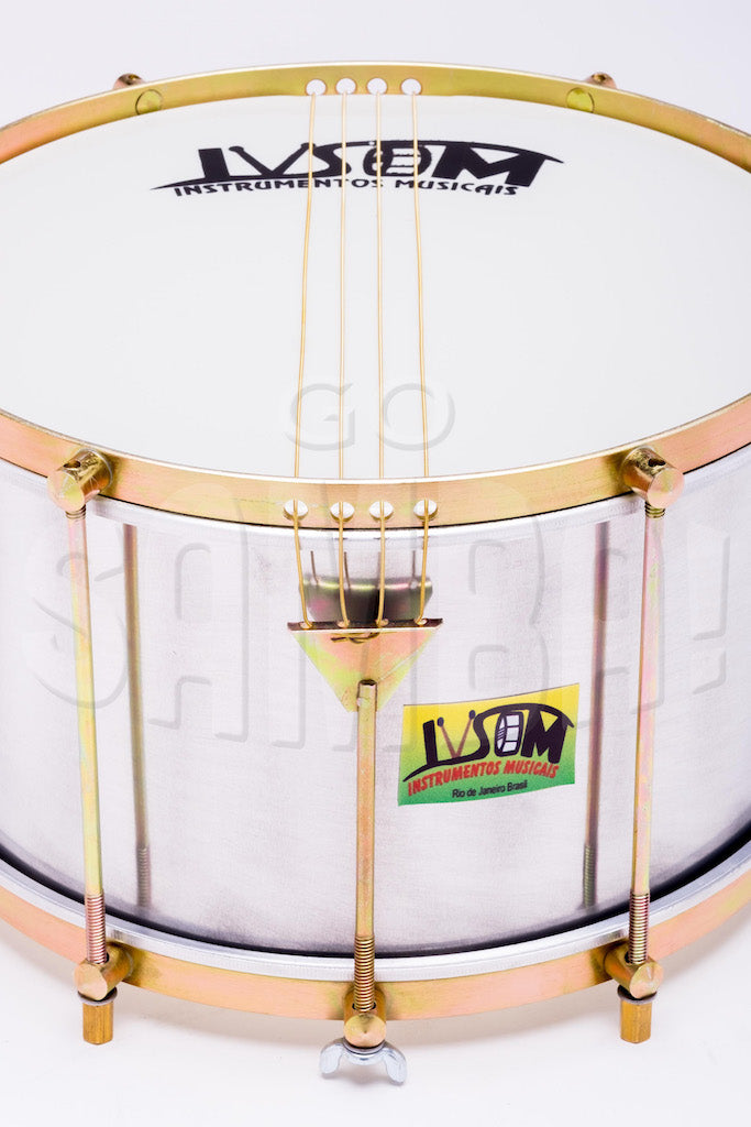 Close view of IVSOM drum. Four string caixa with aluminum shell.