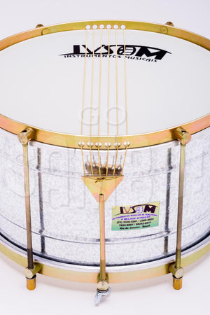 Zoomed in view of IVSOM drum from Brazil. Speckled steel shell with brass colored hardware.