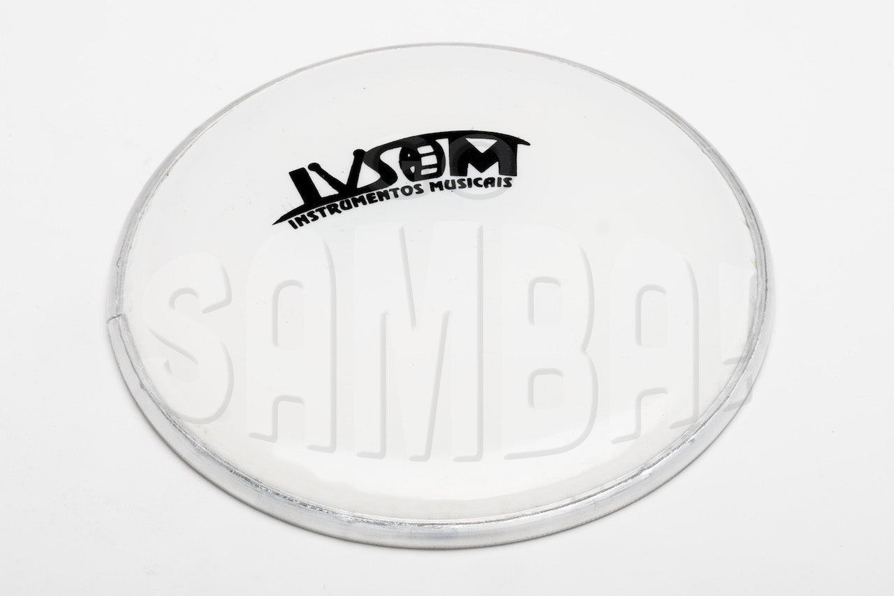 "White IVSOM tamborim drum head. 6"" in diameter."