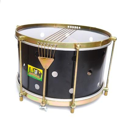 Rio style caixa with brass colored hardware, six strings, clear drum heads and a black shell. The black drum has small holes drilled into it.