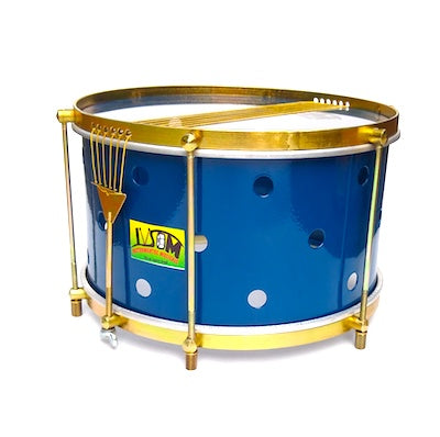 IVSOM Caixa drum with brass colored hardware, six strings, clear dum heads and a blue shell. The royal blue caixa shell has small holes drilled into it.