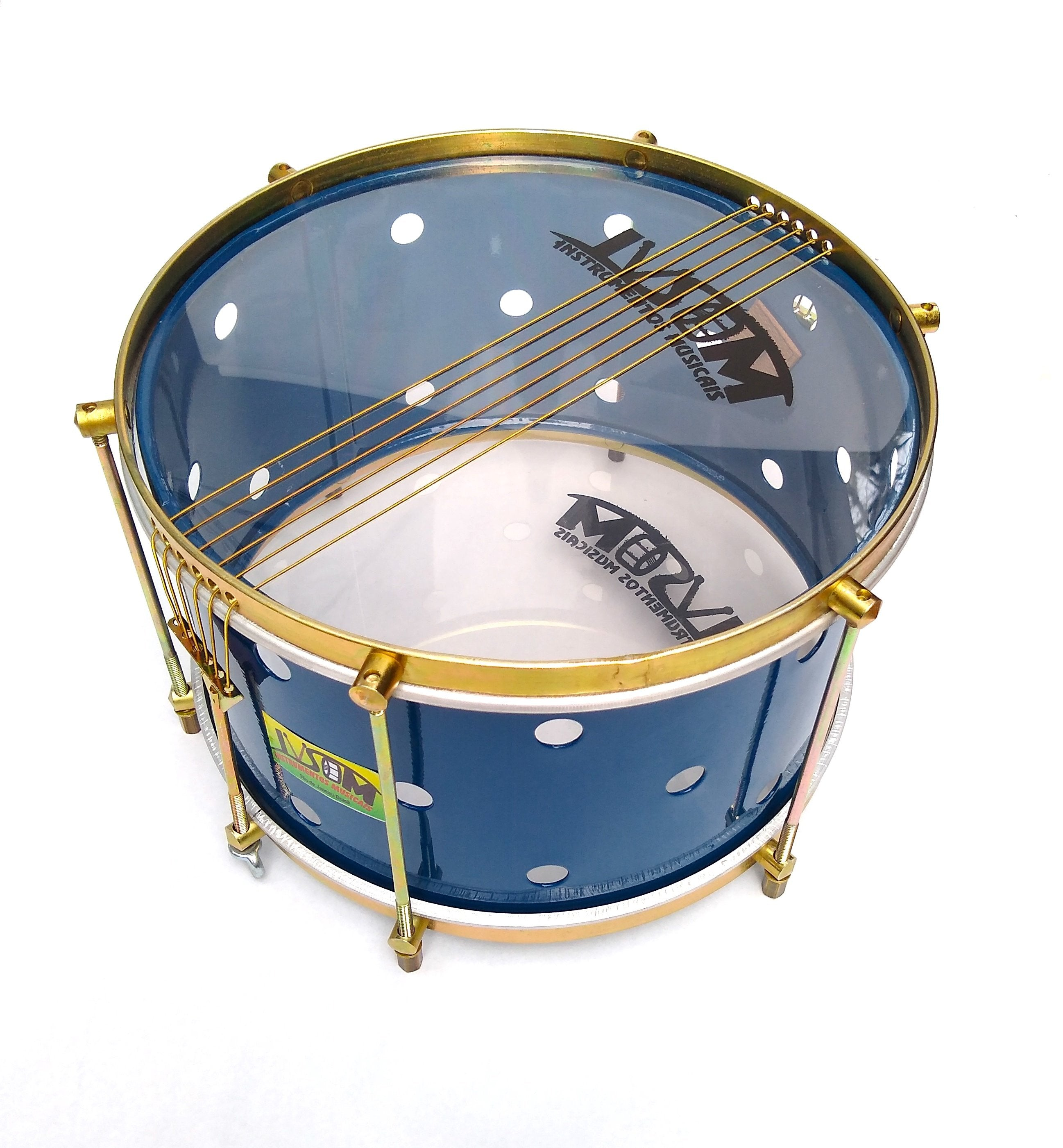 IVSOM snare drum with brass colored hardware, six strings, clear drum heads and a blue shell. The royal blue shell has small holes drilled into it.