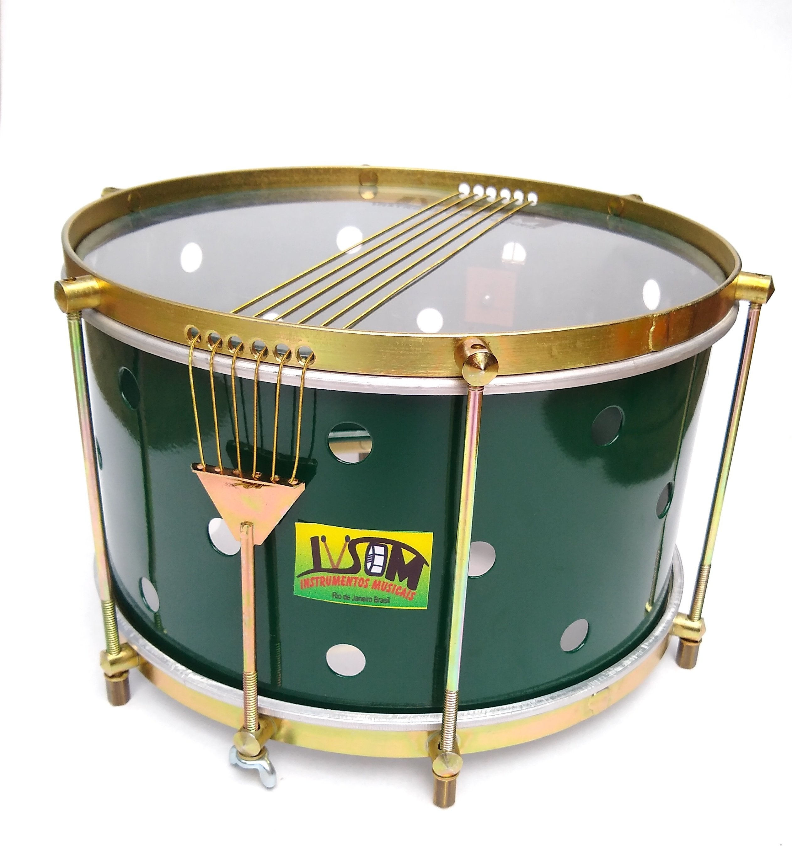 Batucada caixa with brass colored hardware, six strings, IVSOM, clear dum heads and a green shell. The green shell has small holes drilled into it.