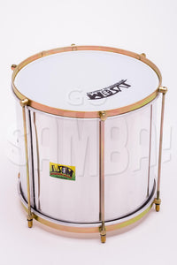 Repinique drum 12 inches. aluminum shell and brassy hardware. Plastic head with IVSOM logo.