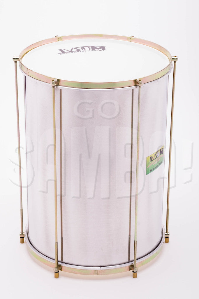 Repinique mor, charuto samba drum. Aluminum shell, white plastic heads with IVSOM logo.