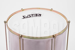 "Repique mor, 14"" white plastic drum head."