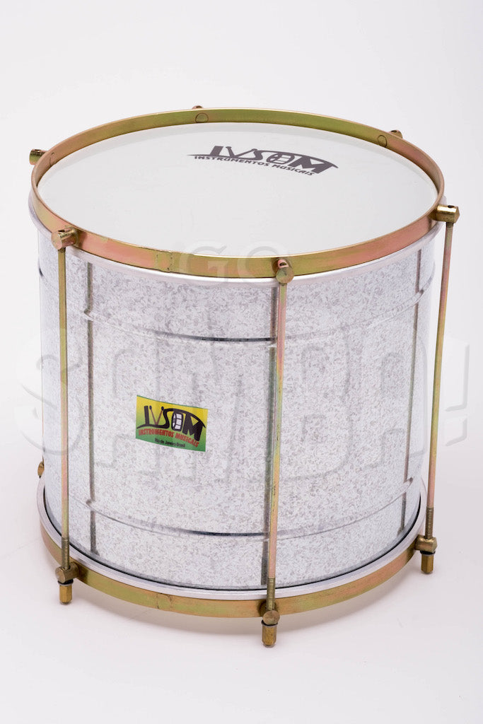 "Galvanized steel repinique. 12"" batucada drum with brass colored hardware. IVSOM sticker on drum shell."