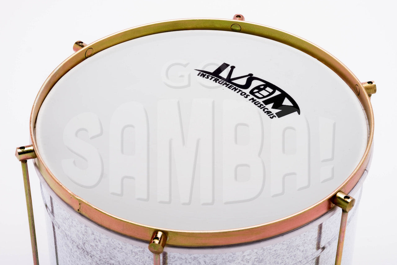 Repique with a steel shell. Close up of the white plastic drum head.