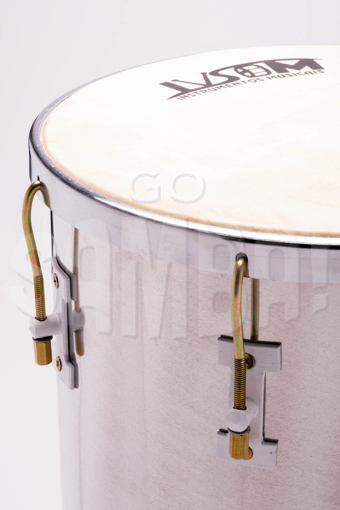 Close up view of IVSOM tan tan with aluminum rim and shell. Goat skin drum head.