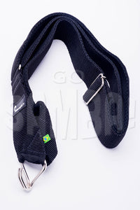 Black samba strap with one hook. Adjustable size and padded.