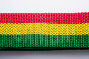 Red green and gold material for malacacheta strap.