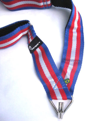 Red white and blue samba strap with a single hook for samba batucada.