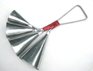 Four bell agogo made of carbon steel. Long handle with red sparkle tape.