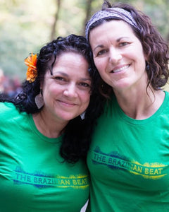 The Brazilian Beat Podcast T-shirt on podcast hosts Courtney Danley and Dianna Ramire.z