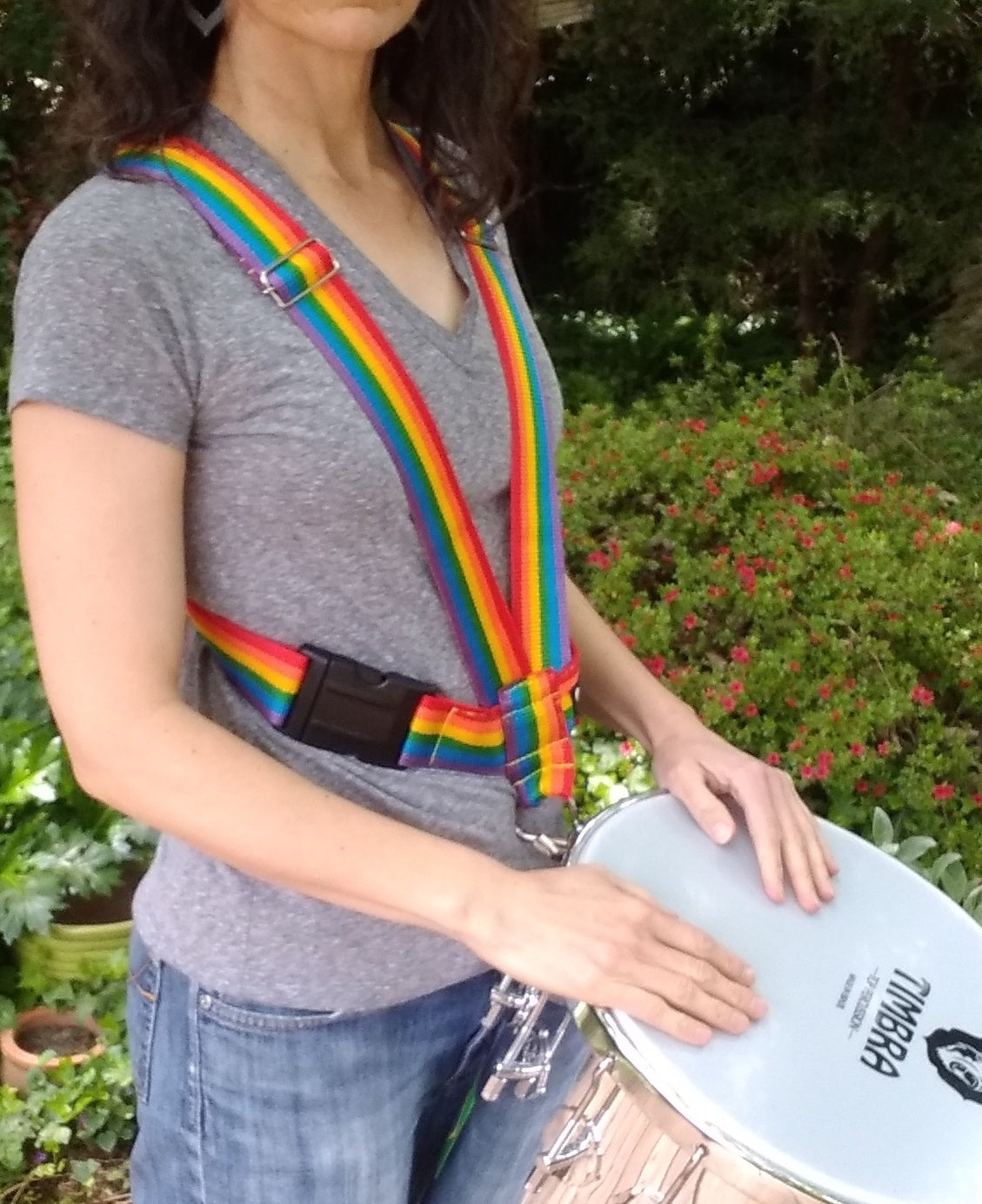 Side view of rainbow timbal strap by Macapart with Timbra timbal