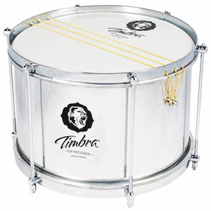 Silver colored aluminum caixa or malacacheta manufactured by Timbra, Brazilian samba drum maker. Six string caixa with six lugs. The hardware is silver.