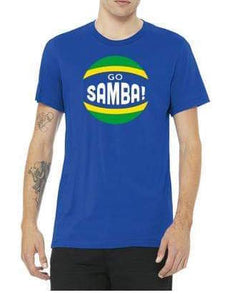 Go Samba T-shirt on model with tattoos with white background.