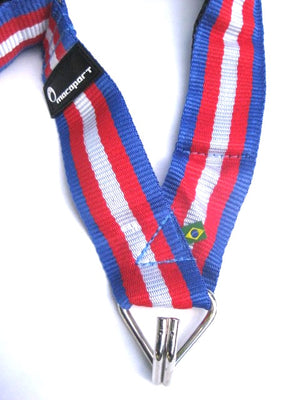 Drum strap, red white and blue shoulder strap for samba batucada.