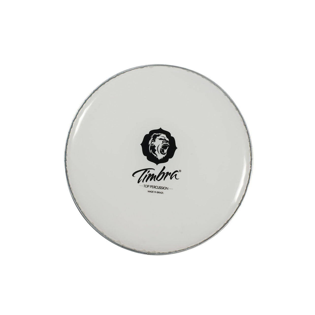 Timbra Top Percussion drum head on a white background. 20 inch diameter milky white drum head with an aluminum rim on a white background.