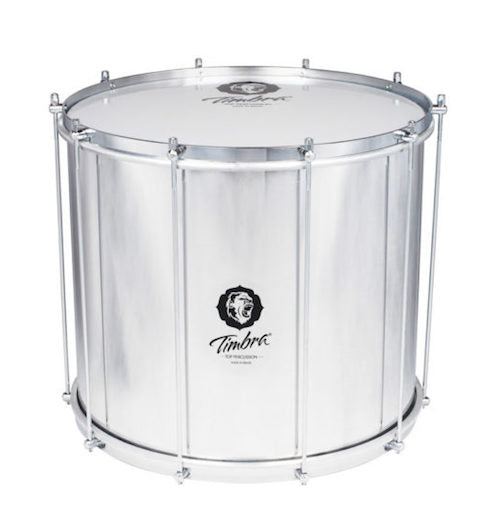 Timbra aluminum shell surdo. Chrome hardware and a milky drum head with a Timbra Logo. Axé style surdo 20 inch x 15.75 inch