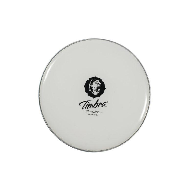 Timbra brand plastic drum head for surdos, repiniques, repique, timbal, or caixa. White drum head with Timbra logo