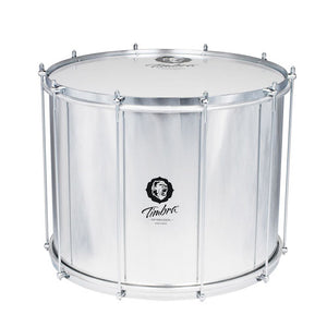 Timbra 20 inch surdo with aluminum body and chrome hardware. 10 tuning rods and beautiful black timbra logo.