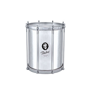 Timbra 8 lug repinique. aluminum shell and shiny hardware. Shiny drum on white background.