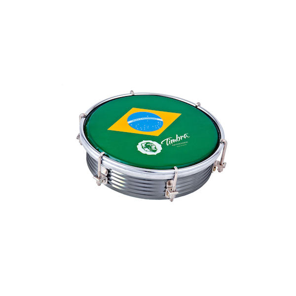 Tamborim with grey aluminum shell and Brazil flag drum head.