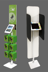 ipad kiosks with built-in merchandizing and privacy screens