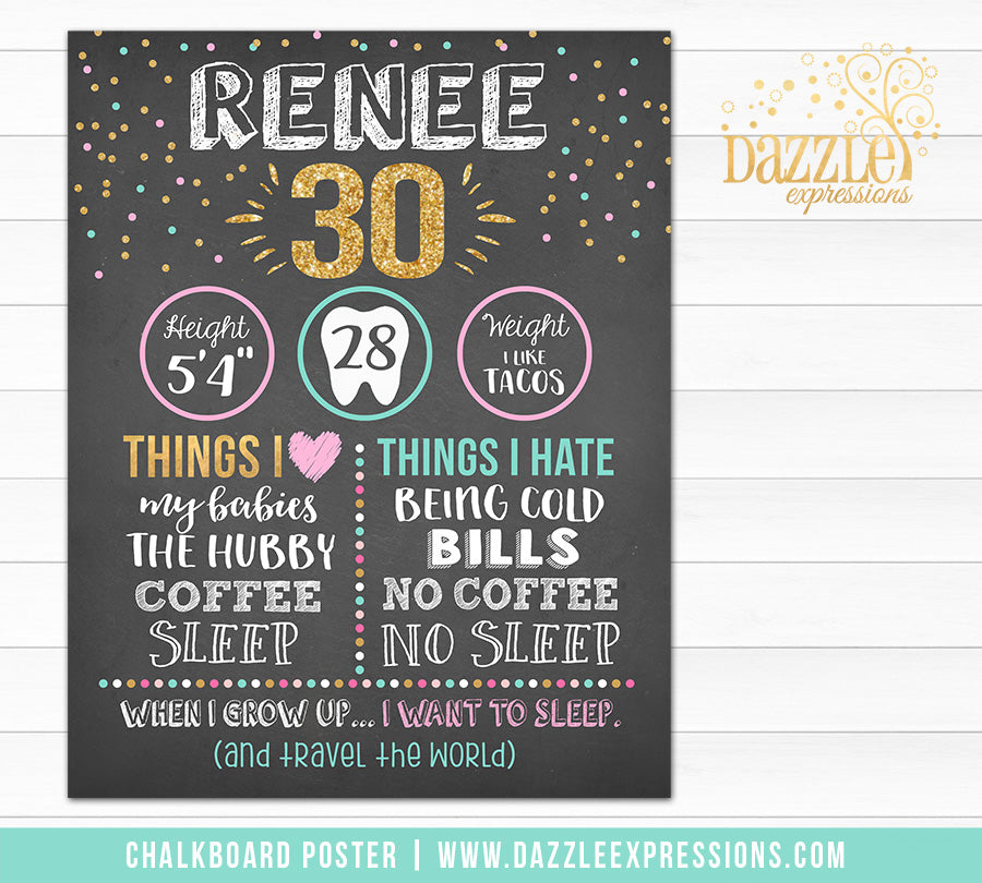 Adult Chalkboard Birthday Poster - DIY Printable
