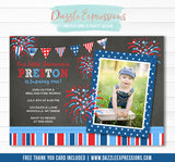 4th of July Chalkboard Invitation 1 - FREE Thank You Card Included