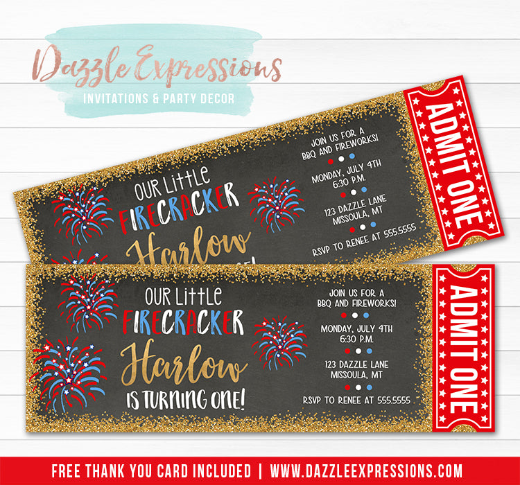 4th of July Ticket Invitation 1