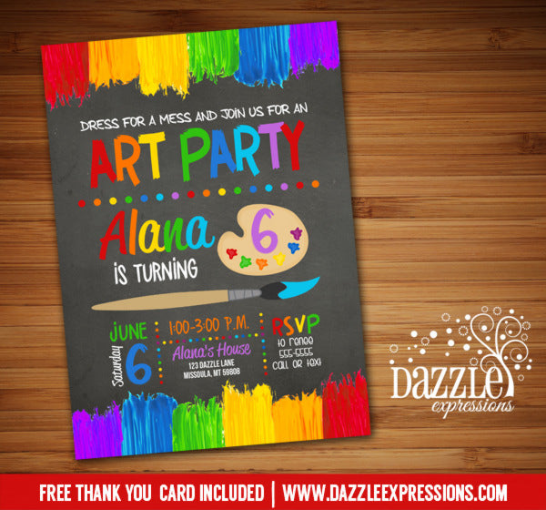 Painting Party Chalkboard Birthday Invitation 2 - Thank You Card Included