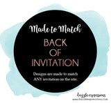Back of Invitation - Wording or Photos