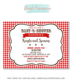 Baby Q Shower Invitation - FREE Thank You Card
