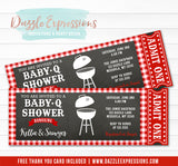 Baby Q Shower Ticket Invitation - FREE thank you card