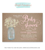 Babys Breath Baby Shower Invitation - FREE thank you card included