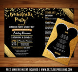 Bachelorette Itinerary Invitation 2 - Lingerie Insert Included
