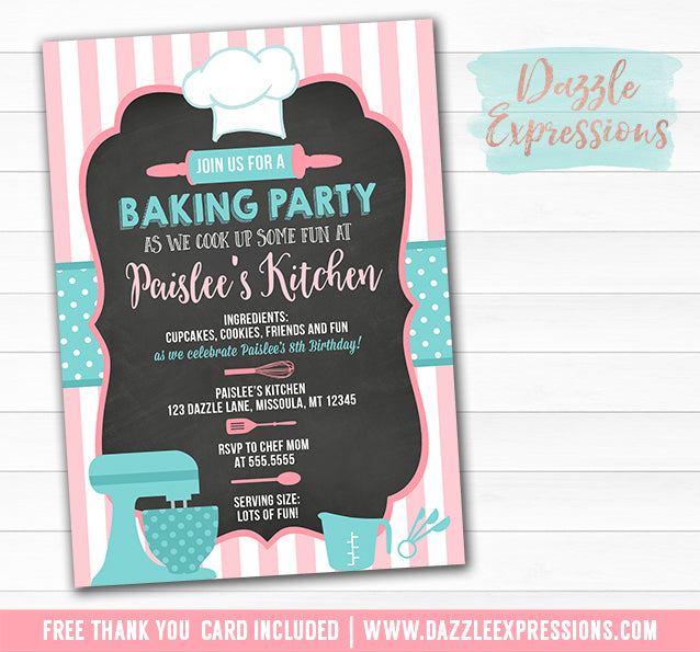 Baking Party Chalkboard Invitation 1 - FREE thank you card included