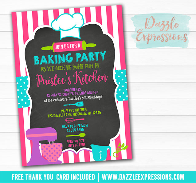 Baking Party Chalkboard Invitation 2 - FREE thank you card included