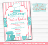 Baking Party Invitation 1 - FREE thank you card included