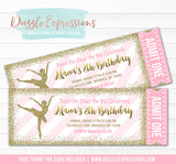 Ballet Pink and Gold Glitter Ticket Invitation - FREE thank you card