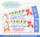 Balloon Animal Ticket Invitation 2 - FREE thank you card included