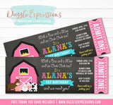 Barnyard Chalkboard Ticket Invitation 2 - FREE thank you card