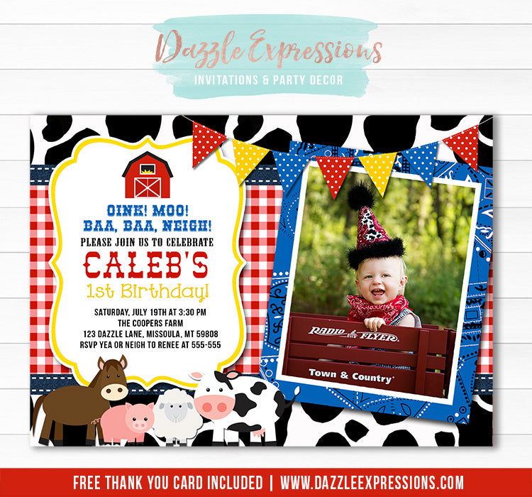 Barnyard Birthday Invitation 3 - FREE Thank You Card Included