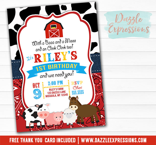 Barnyard Birthday Invitation 4 - FREE thank you card included