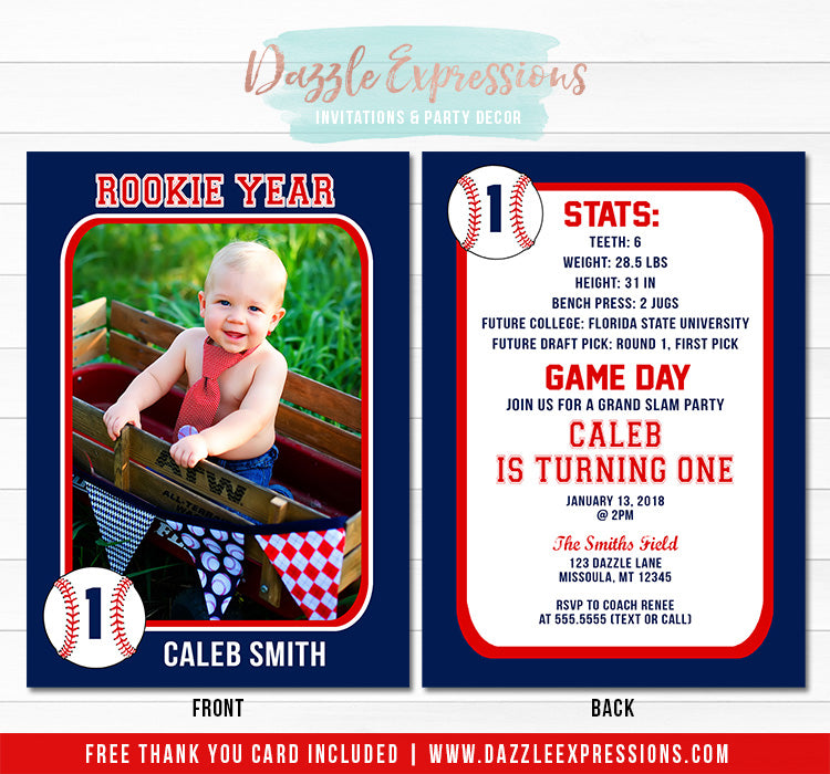 Baseball Card Stats Birthday Invitation - FREE thank you card included